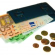 Wallet with euro banknotes and coins — Stock Photo