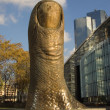 The giant finger sculpture — Stock Photo