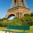 Bench near the Eiffel Tower - Stock Photo