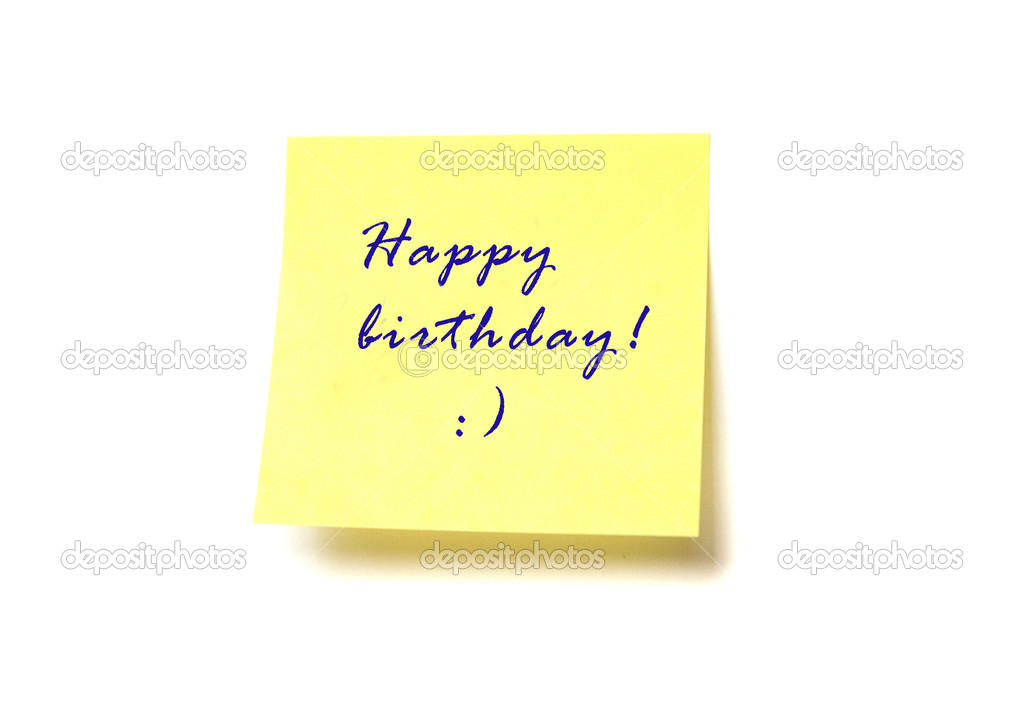Yellow post it with words Happy birthday! isolated on white — Stock Photo #1060742