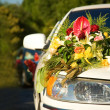 Car decoration for wedding — Stock Photo