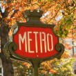 Parisian metro sign — Stock fotografie