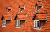 Red tile roof and garrets — Stockfoto