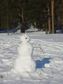 Snowman in a forest — Stockfoto