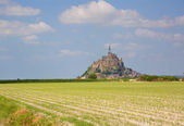 Cultivated fields and Mont Saint-Michel — Stock Photo