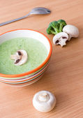 Broccoli and champignon cream soup — Stock Photo
