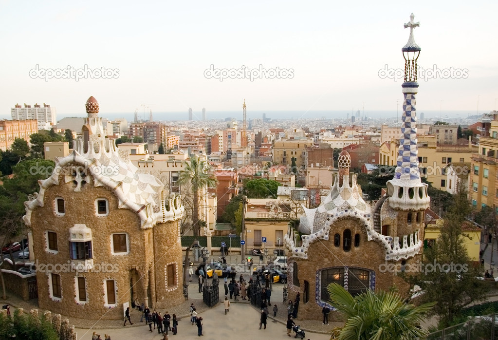 Park Guell in Barcelona (Spain), designed by Antoni Gaudi  Stock Photo #1076228