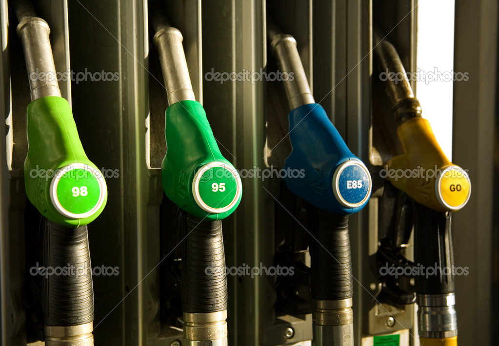 Different types of fuel dispensers at filling station — Stock Photo #1077081