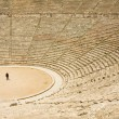 tourist in ancient theater in epidaurus — Stock Photo