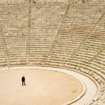 Tourist in ancient theater in Epidaurus — Stock Photo