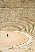 Tourist in ancient theater in Epidaurus — Photo