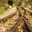 Rails of Diakofto-Kalavrita railway - Stock Photo