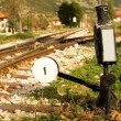Railroad switch with its lever — Stok fotoğraf