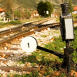 Stock Photo: Railroad switch with its lever