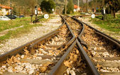 Rails of Diakofto-Kalavrita railway — Stock Photo