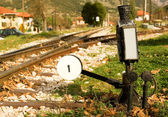 Railroad switch with its lever — Stock Photo