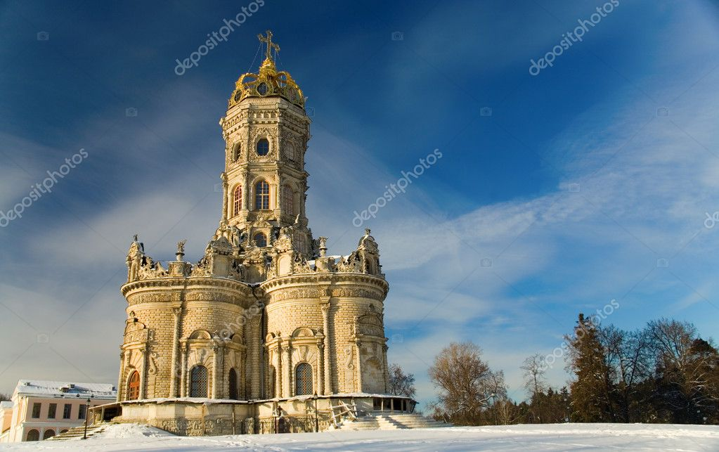 Church of Holy Virgin of Sign at Dubrovitsy in the town of Podolsk near Moscow, Russia — Stock Photo #1889252