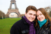 Happy romantic couple in Paris — Stock Photo