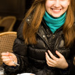 Beautiful smiling girl with cappuccino — Stock Photo #1998069