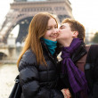 Happy loving couple near in Paris — Stock Photo