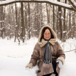 Beautiful woman in winter forest — Foto de Stock