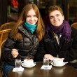 Happy couple in a Parisian street cafe — Stock Photo #2018477