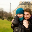 Stock Photo: Happy loving couple in Paris, hugging