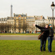 Happy loving couple in Paris having fun ourdoors — Stock Photo