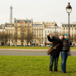 Royalty-Free Stock Photo: Happy loving couple in Paris having fun ourdoors