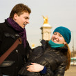 Happy couple in Paris having fun outdoors - Stockfoto