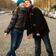 Happy loving couple in Paris on the Champs Elysees — Stock Photo
