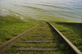 Railway and water. — Stockfoto
