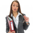 Business woman with folder — Stock Photo
