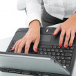Business woman and laptop — Stock Photo