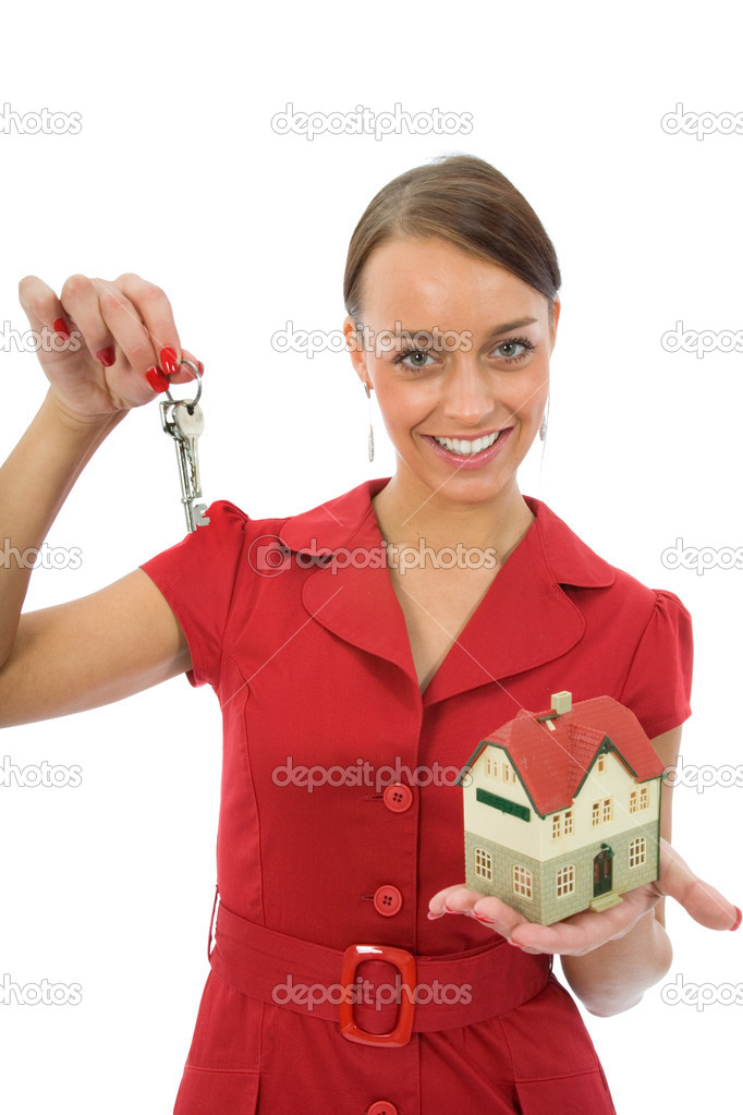 Business woman advertises real estate — Stock Photo #1155758