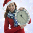 Beautiful woman with clock — Stock Photo