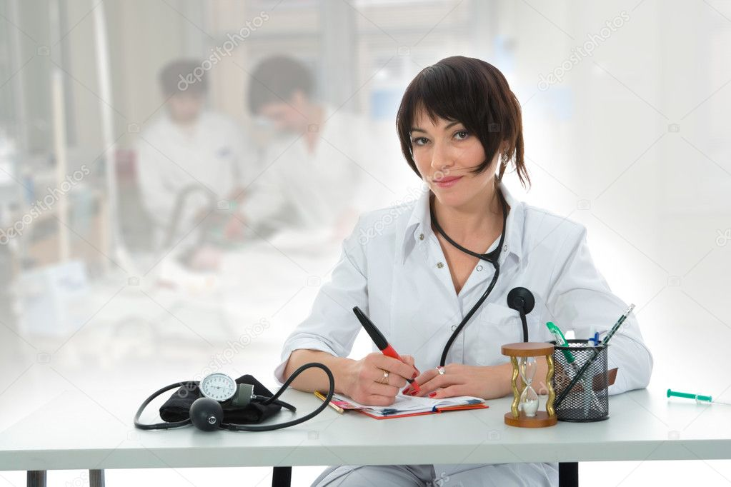 Young doctor with stethoscope on isolated background — Stock Photo #1200737