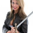 Sexy girl with sword — Stock Photo
