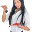 Business woman advertises selling the ca — Stock Photo #1236386