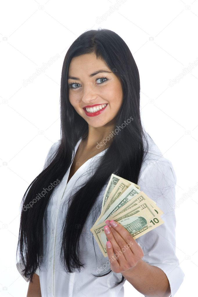 Business woman  working on isolated background — Stock Photo #1236853