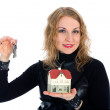 Business woman advertises real estate — Stock Photo #1286158