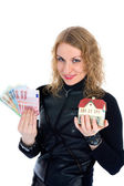 Business woman advertises real estate — Stock Photo