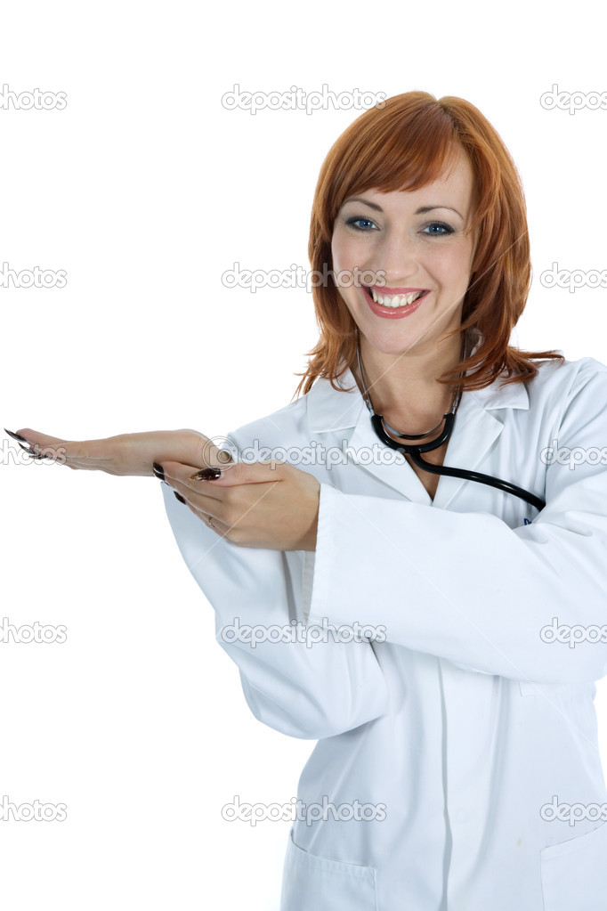 Young doctor with stethoscope on isolated background — Stock Photo #1285628
