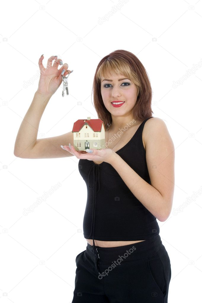 Business woman advertises real estate on isolated background  Stock Photo #1285856
