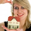 Stock Photo: Business woman advertises real estate