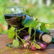 Stock Photo: Glass and bottle of red wine