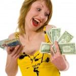 expresivní žena nakupování — Stock fotografie
