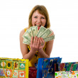 Foto Stock: Expressive woman shopping