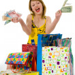 Expressive woman shopping — Stockfoto