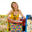 espressiva donna shopping — Foto Stock
